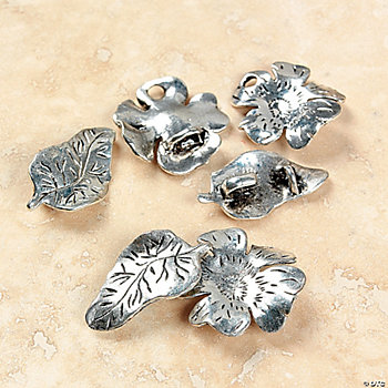 Silvertone Metal Flower & Leaf Clasps