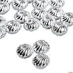 Bright Silvertone Swirl Beads - 4mm x 6mm