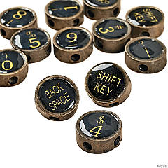 Antique Gold-Finish Metal Typewriter Key Charms