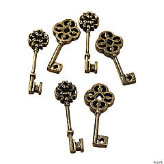 Antique Goldtone Ornate Key Charms