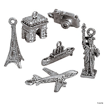 Silvertone Travel Destination Charms