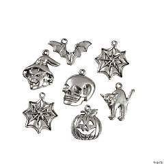 Silvertone Metal Halloween Charm Mix