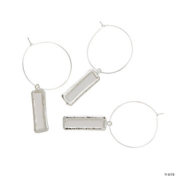 Silvertone Wine Charm Tag Set