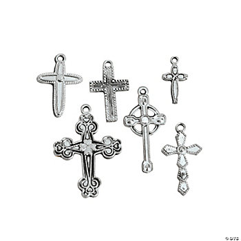 Silvertone Cross Charms