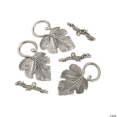 Silvertone Metal Leaf Toggle Clasps