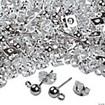 Silvertone Metal Ball Earring Posts With Loops