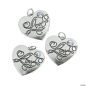 "Heart-Shaped ""Love"" Charms With Rhinestone"