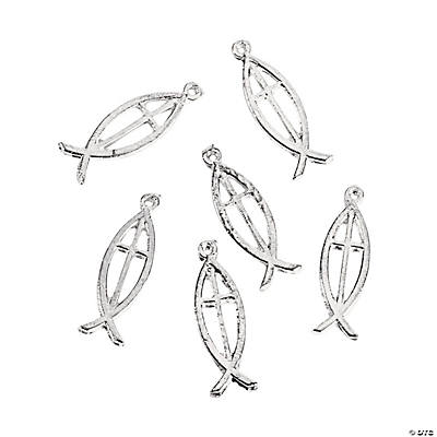 Silvertone Christian Fish Charms