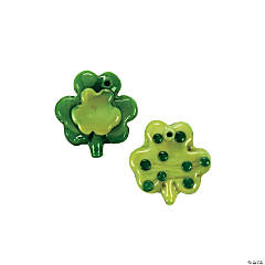 Fused Glass Shamrock Charms - 18mm