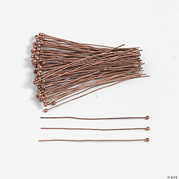 Copper-Tone Headpins With Ball - 2