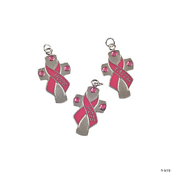 Pink Ribbon Cross Charms
