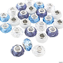 Crystal Winter Large Hole Faceted Beads - 15mm
