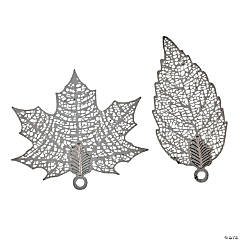 Silvertone Leaf Pendants - 32mm-40mm