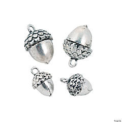 Silvertone Acorn Charms - 10mm, 15mm