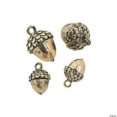 Goldtone Acorn Charms - 10mm, 15mm