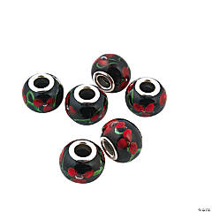 Poinsettia Lampwork Large Hole Beads - 15mm