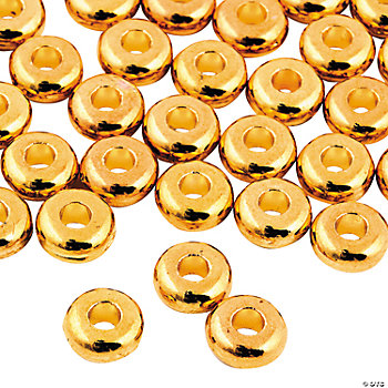 Flat Goldtone Beads - 6mm