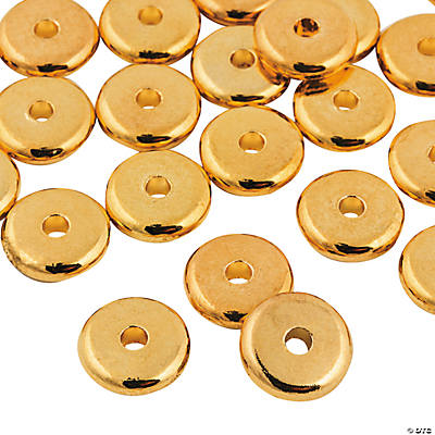 Flat Goldtone Beads - 10mm