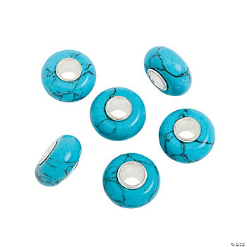 Turquoise Large Hole Beads - 13mm