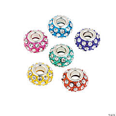 Rhinestone Large Hole Beads - 14mm