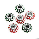 Red & Green Rhinestone Large Hole Beads - 13mm