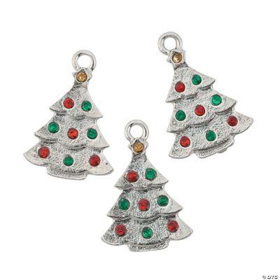 Christmas Tree Charms with Rhinestones