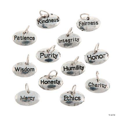 Silvertone Virtue Word Charms