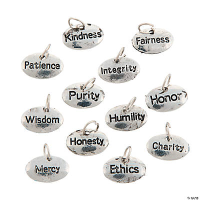 Silvertone Virtue Word Charms