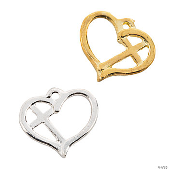 Silvertone & Goldtone Heart With Cross Charms