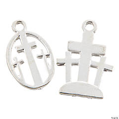 Silvertone Three Cross Resurrection Charms