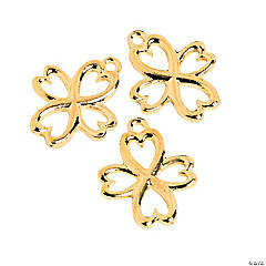 Goldtone Heart Cross Charms