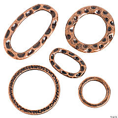 Copper-Tone Hammered Ring Assortment