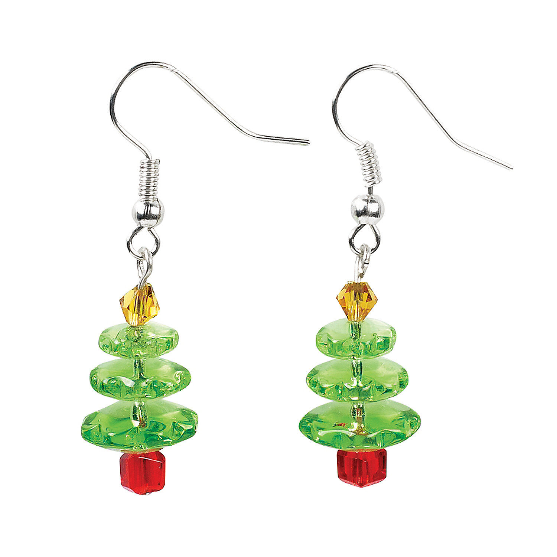 Christmas Tree Glass Earrings Craft Kit