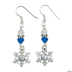 Silvertone Winter Snowflake Earrings Craft Kit