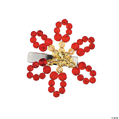 Poinsettia Beaded Hair Pin Kit