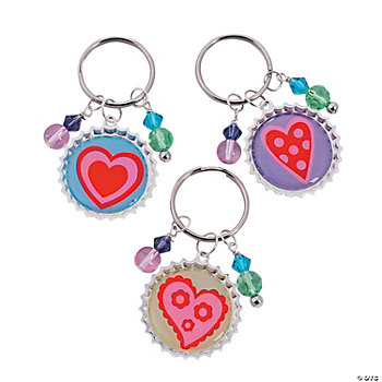 Heart Bottle Cap Key Chain Kit