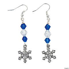 Silver Snowflake Blue Earring Kit