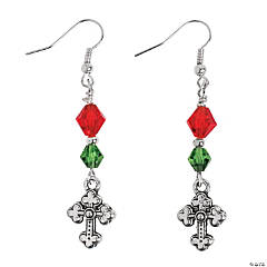 Christmas Silvertone Cross Earring Kit