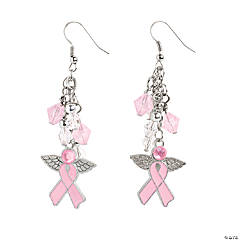 Rhinestone Angel Pink Ribbon Earrings Kit