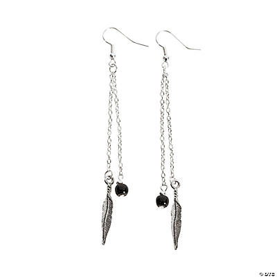 Silvertone Feather Charm Earrings Craft Kit