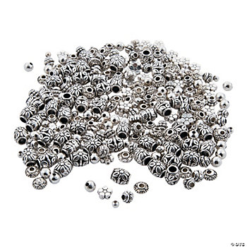 Silvertone Basic Bead Assortment - 4mm-10mm