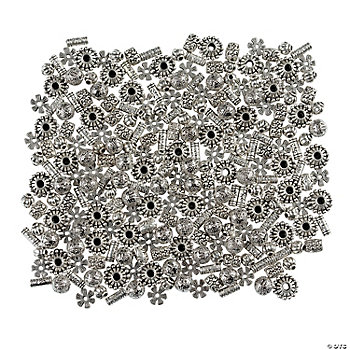 Silvertone Metal Spacer Bead Assortment - 8mm-11mm