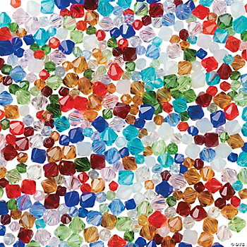 Cut Glass Crystal Mega Bead Assortment - 4mm-6mm