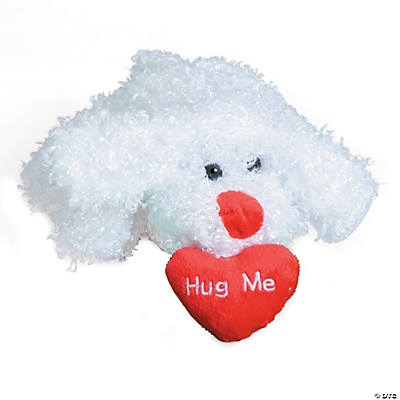 Plush White Bean Bag Dog with Heart