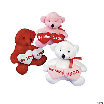 Plush Valentine Bears With Two Hearts