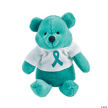 Plush Teal Awareness Ribbon Bears