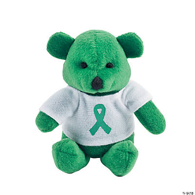 Plush Green Awareness Ribbon Bears