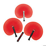 12 Red Paper Fans