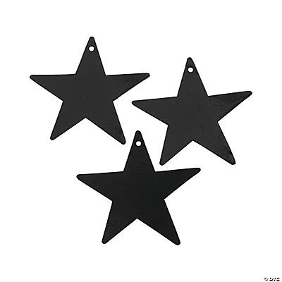 Small Black Metallic Stars - 5""