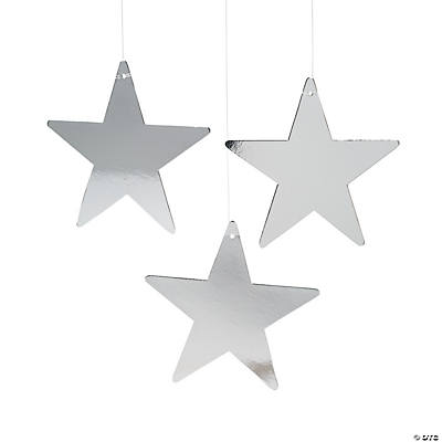 Large Silver Metallic Stars - 9""